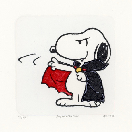 Snoopy // Want To Suck Your Blood // Peanuts Halloween Hand Painted Cartoon Etching (Unframed)