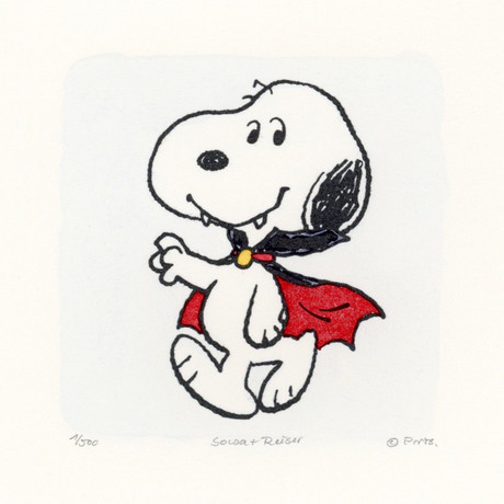 Snoopy // Dracula Smile // Peanuts Halloween Hand Painted Cartoon Etching (Unframed)