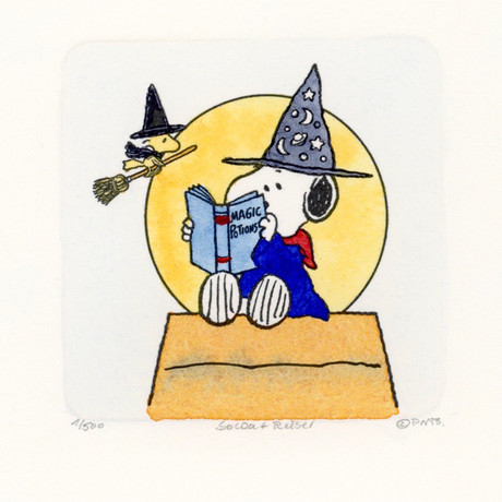 Snoopy & Woodstock //House // Peanuts Halloween Hand Painted Cartoon Etching (Unframed)