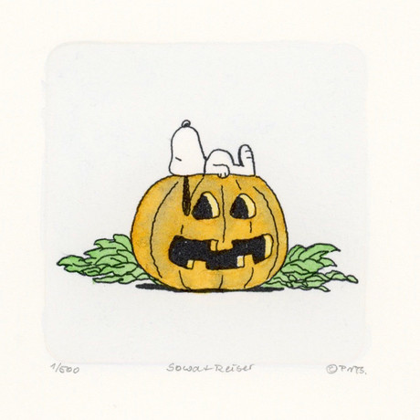 Snoopy // Pumpkin // Peanuts Halloween Hand Painted Cartoon Etching (Unframed)