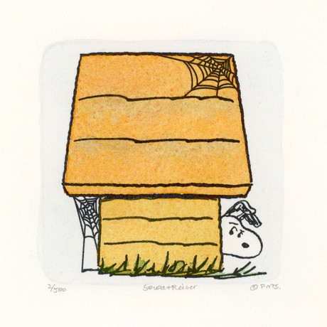 Snoopy // Hiding Behind Dog House // Peanuts Halloween Hand Painted Cartoon Etching (Unframed)