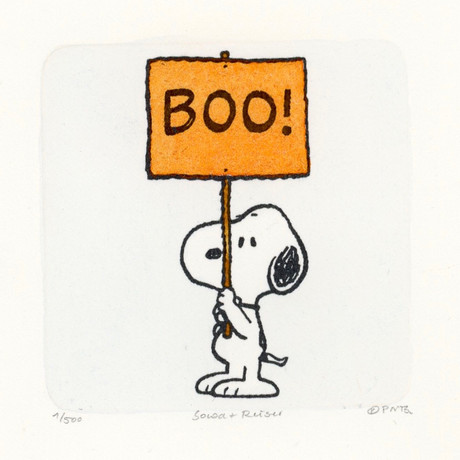 Snoopy // Boo Sign // Peanuts Halloween Hand Painted Cartoon Etching (Unframed)