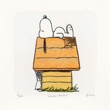 Snoopy // On Top Of House // Peanuts Halloween Hand Painted Cartoon Etching (Unframed)