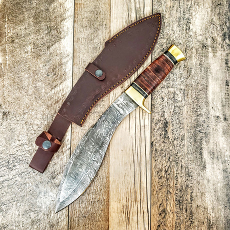 Kukhri // Stacked Leather and Horn // Two Tone Handle