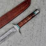 Damascus Sanmai Raindrop Tanto Sword // Turquoise // Leather Stacked Handle