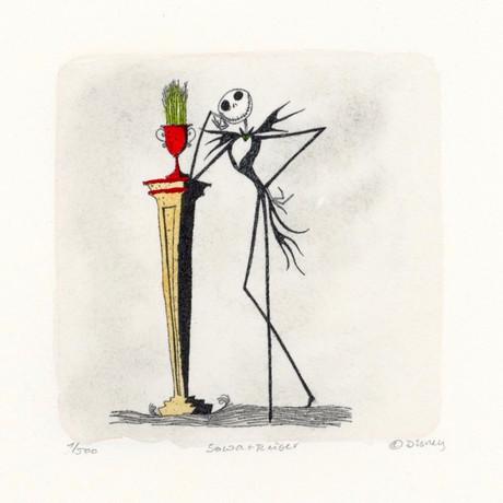 Jack Skellington // Nightmare Before Christmas // Hand Painted Sowa & Reiser Etching (Unframed)