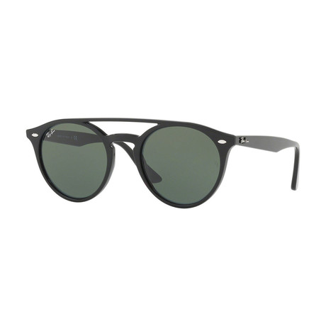 Unisex Double Bridge Round Sunglasses // Black + Green Classic
