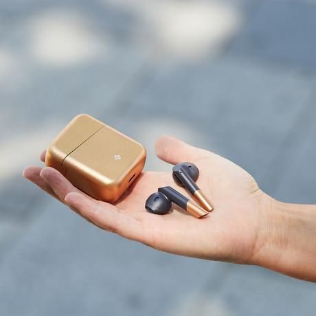 Zebuds Premium // TWS Earphones + Charging Case // Gold