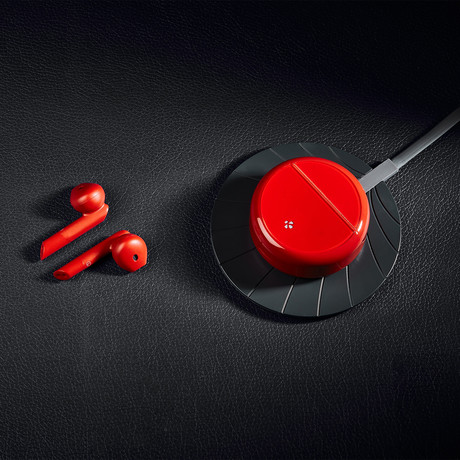 Zebuds Pro // TWS Earphones + Qi Wireless Charging Case // Red