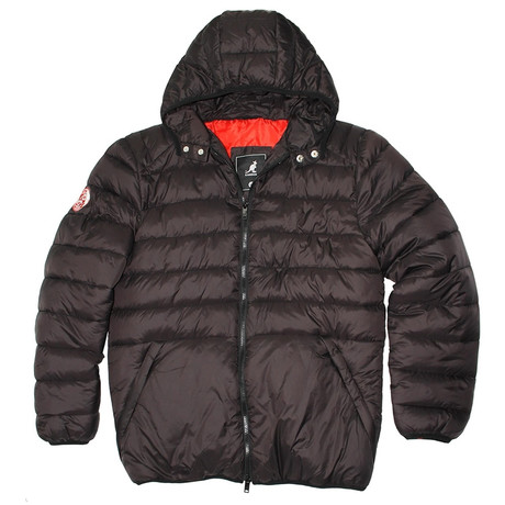 Puffy Quilted Jacket + Color Lined Hood // Matte Black + Red Ginger (S)