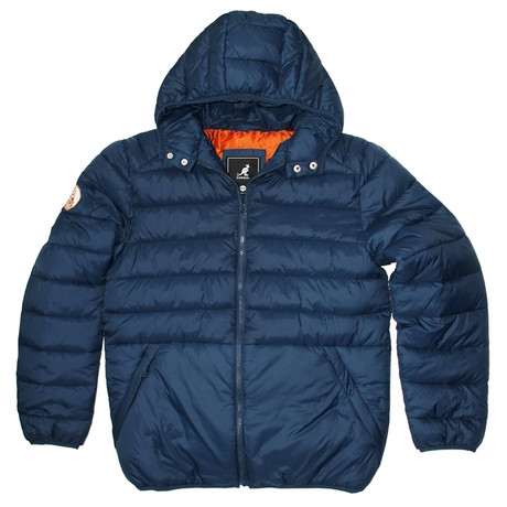 Puffy Quilted Jacket + Color Lined Hood // Navy + Rust (S)