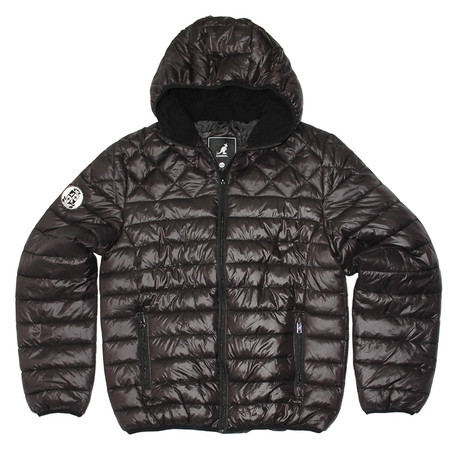Sherpa Lined Hooded Puffy Quilted Jacket // Black (S)