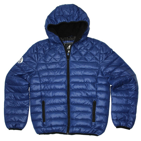 Sherpa Lined Hooded Puffy Quilted Jacket // Newport Navy (S)