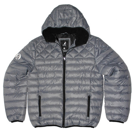 Sherpa Lined Hooded Puffy Quilted Jacket // Carbon Zero (S)