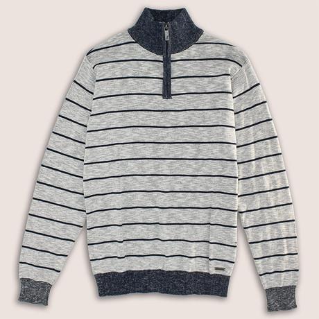 12 Gauge 1/4 Zip Cotton Slub Stripe Sweater // Gray (S)