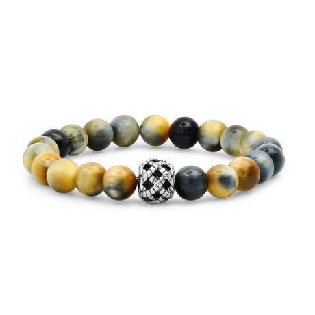 Anthony Jacobs // Tiger Eye + Stainless Steel Beaded Bracelet // Metallic + Gray + Yellow