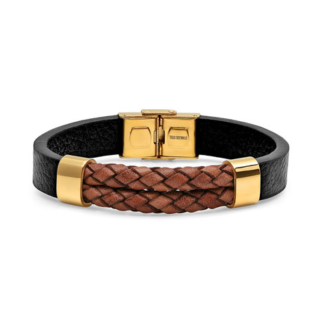 Braided Leather + Stainless Steel Bracelet (Black + Blue)