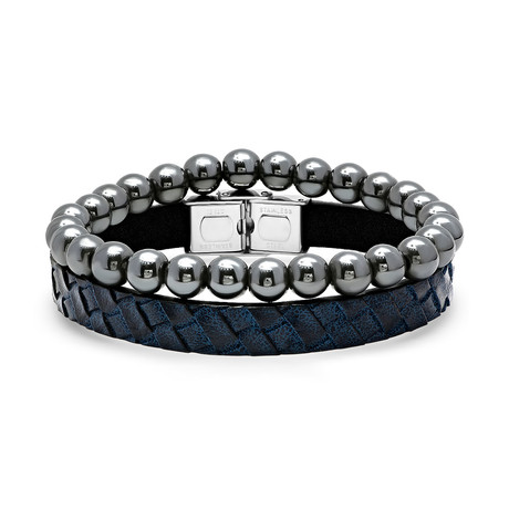 Leather + Hematite Bracelet // Set of 2 // Blue + Gunmetal