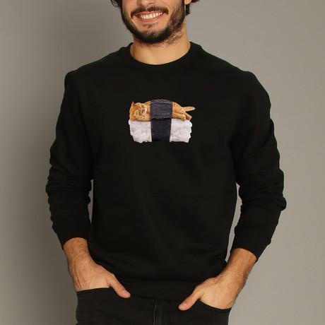 Sushi Cat Sweatshirt // Black (S)
