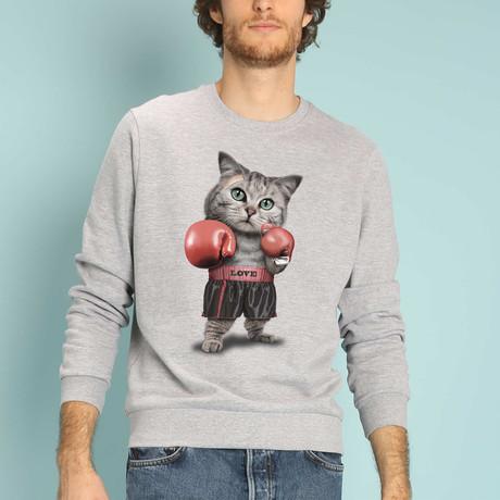 Boxing Cat Sweatshirt // Gray (S)