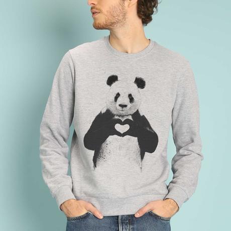 Love Panda Sweatshirt // Gray (S)