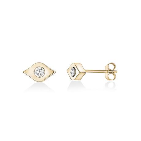 Stainless Steel + Cubic Zirconia Eye Stud Earrings // Yellow