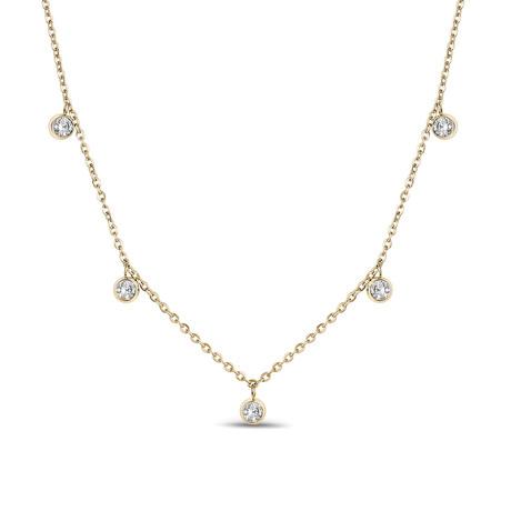 Dangling Cubic Zirconia Necklace // Yellow