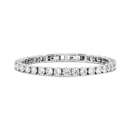 "Cubic Zirconia + Stainless Steel Tennis Bracelet // 5mm // White (6.75"")"