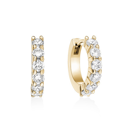 Stainless Steel + Cubic Zirconia Huggie Earrings (White)
