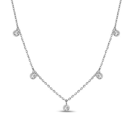 Dangling Cubic Zirconia Necklace // White