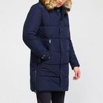 Fur Hood Coat // Navy (XL)