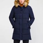 Fur Hood Coat // Navy (M)