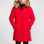 Fur Hood Coat // Red (XS)