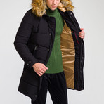 Fur Hood Coat // Black (M)