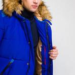 Fur Hood Coat // Sax (2XL)