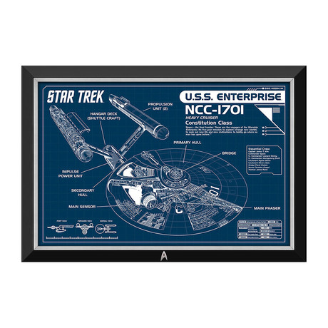 Star Trek USS Enterprise Blueprints // Framed Canvas with Starfleet Insignia