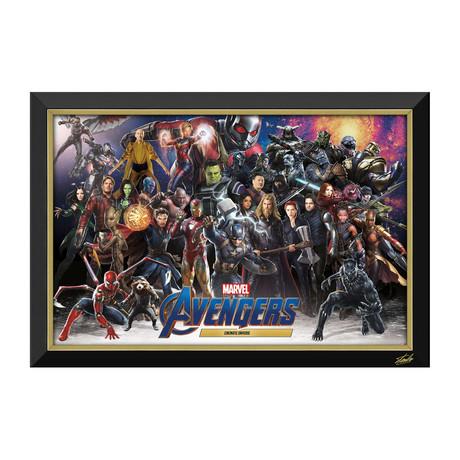 Avengers MCU // All Heroes + Villains Framed Canvas // Stan Lee Facsimile Signed