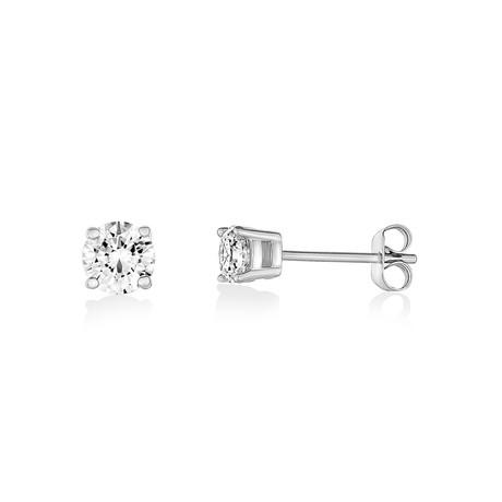 Cubic Zirconia Stud Earrings // 5mm // White