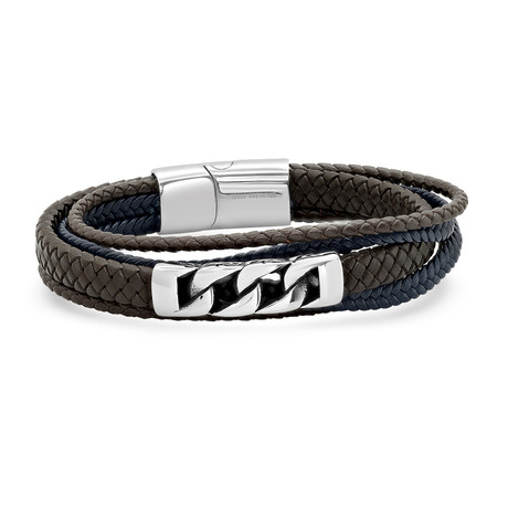 Layered Leather Bracelet // Brown + Navy