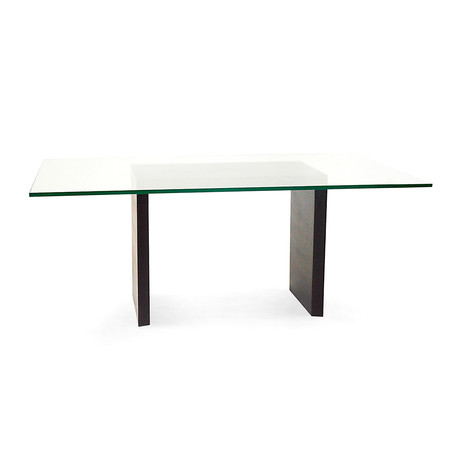 Solid Poplar Wood Dining Table + Glass Top  // Dark Walnut Finish