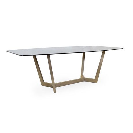 Solid Wood Oak Dining Table + Bronze Glass Top