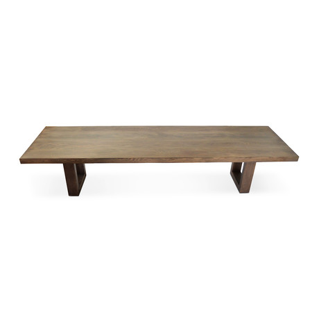 LG  White Oak Planks + Veneer Dining Table // Walnut Finish