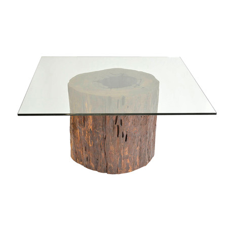 Mussutaiba Tree Trunk Dining Table + Glass Top