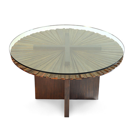 Round Mandala Dining Table + Glass Top // Stained Wood Base