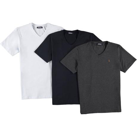 V-Neck T-shirts // Anthracite + White + Dark Blue // Pack of 3 (Small)