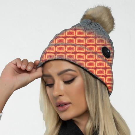 Heated Woman's Cable Knit Beanie + Pom Pom // Gray