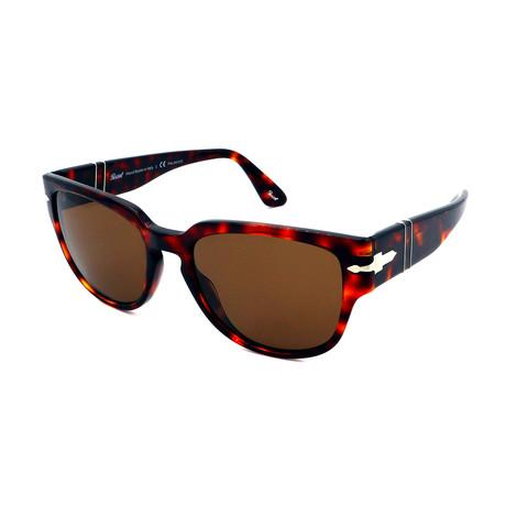 Persol // Men's PO3231S-24-57 Polarized Sunglasses // Dark Havana + Brown