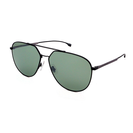 Hugo Boss // Men's 0994-F-S Matt Round Sunglasses // Black