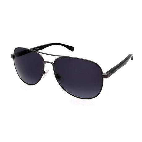 Hugo Boss // Men's 0700-N-S Aviator Sunglasses // Ruthenium + Gray