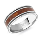 Tungsten Carbide Resin Band // Silver + Wood + Black (7)